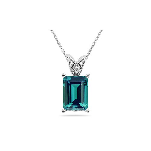 7.04-9.25 Cts of 12x10 mm AAA Emerald Russian Lab Created Alexandrite Scroll Solitaire Pendant in 14K White Gold