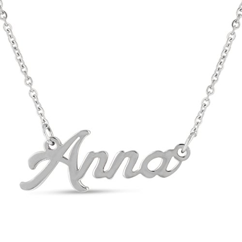 Anna Nameplate Necklace In Silver Tone (Silver Plate Tone)