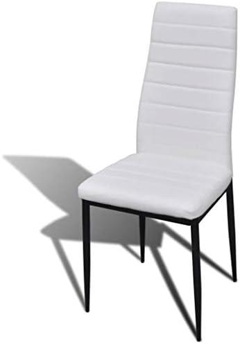 A-ZONE Chaises de Salle à Manger 4 pcs Blanc Similicuir