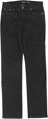 Lauren Ralph Lauren Womens Denim Slimming Straight Leg Jeans Black (Lauren Flap Pocket Jeans)