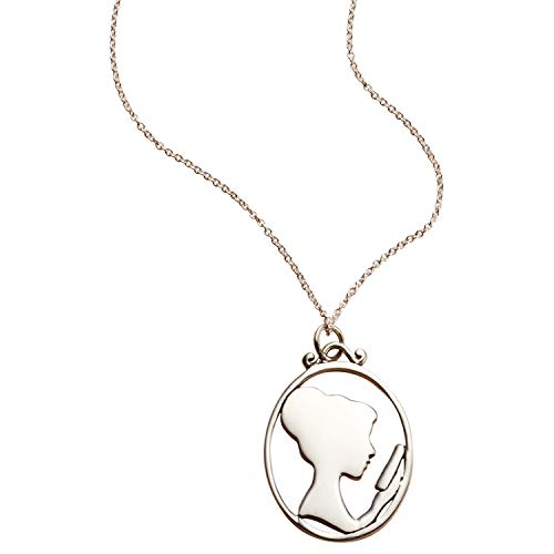 FLORIANA Women's Reading Lady Silhouette Sterling Silver Pendant Necklace