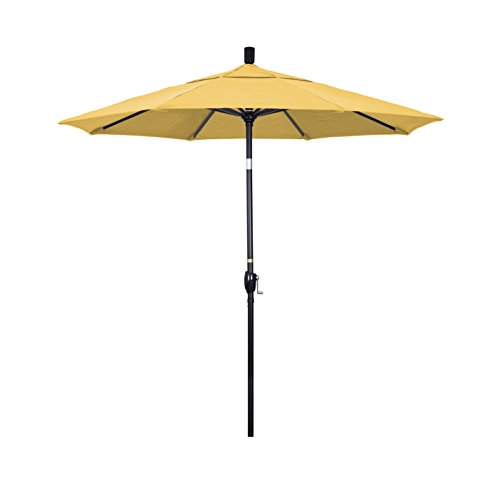 California Umbrella 7.5' Round Aluminum Market Umbrella, Crank Lift, Push Button Tilt, Black Pole, Sunbrella Cornsilk