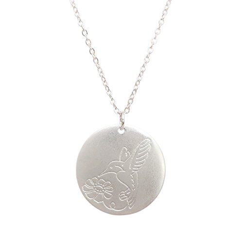 - Dainty Disk Charm With Design Necklace (Matte Silver Tone Hummingbird)
