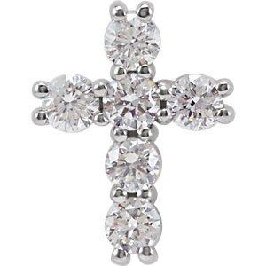 14K Pendentif Croix Diamant 1/4carat or blanc