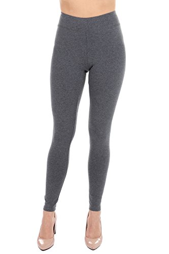 Premium Women 's Cotton Leggings - Cropped Capri & Full Length - Non See thru Charcoal Small