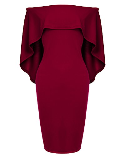 Womens Off The Shoulder Cocktail Party Dress Batwing Cape Midi Dress -