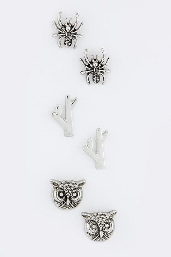 TRENDY FASHION JEWELRY OWL AND SPIDER EARRINGS SET BY FASHION DESTINATION | (Silver)