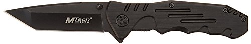 MTech USA MT-378 Folding Tactical Knife, Tanto Blade, Black Steel Handle, 4-1/2-Inch Closed