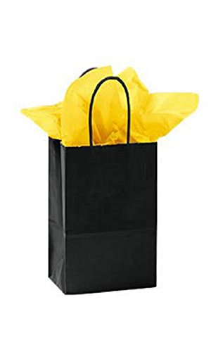 Small Glossy Black Paper Shopping Bags - Pack of 100 by STORE001