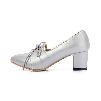 Zapatos de tacones de las mujeres Primavera Verano Otoño Invierno Comfort cuero sintético oficina y carrera Fiesta y Noche Casual tacón grueso con cordones gris rosado astilla Gray