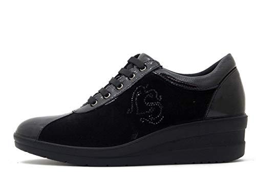 In Cm Pelle Comfort 206520 Lucida Zeppa Plantare E 4 Camoscio Imac Sneaker Estraibile Nero xpqvS