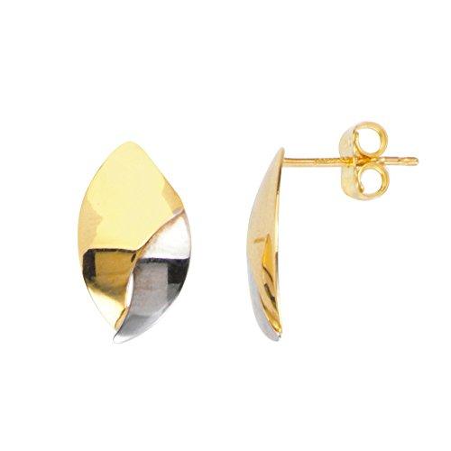 Stud Earrings, 14Kt Gold Leaf Shaped Stud Earring by DiamondJewelryNY