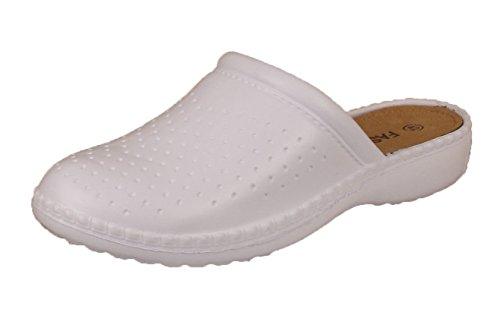 Mens Slip On Beach Clogs Shoes Summer Sandals Flip Flop Mules Holiday Chef Work Nursing (UK 6 / 40, White)
