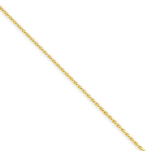 1mm 14k Yellow Gold Diamond Cut Round Wheat Chain Necklace, 18 Inch