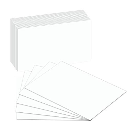 Blank Index Flash Note Cards | 80lb Heavyweight Thick White Cover Stock. 100 Cards Per Pack | 5 x - Feed Head Trim