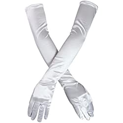 "DreamHigh Women's Party Wedding 21"" Long Satin Finger Gloves White"