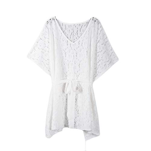 RAINED-Women's Lace Up Dress Crochet Chiffon Swimsuit Beach Bikini Cover Ups Swimwear Loose Midi Swing Dress White