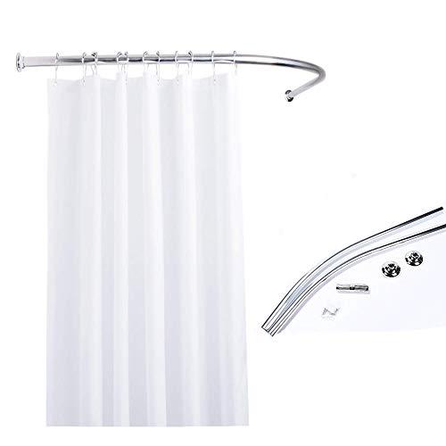 WayneINC Shape Curved Shower Rod Aluminum Alloy for Bathroom, Bathtub, Drilling Installation Shower Curtain Rod 35 to 35 Inches, Arc Radius 16 Inches