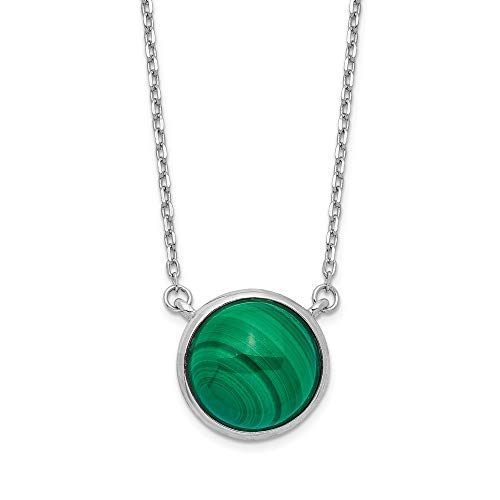 925 Sterling Silver Round Malachite Cabochon Chain Necklace Pendant Charm Fancy Fine Jewelry Gifts For Women For Her (Fancy Cabochon 925 Silver Pendant)