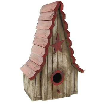 Rustic White Birdhouse with Red Roof & Star
