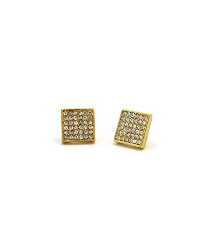 Pierced Earrings Lucite (6 Stone Row Square Shape Stud Pierced Earrings - Gold-Tone w/ Lucite Box Display)