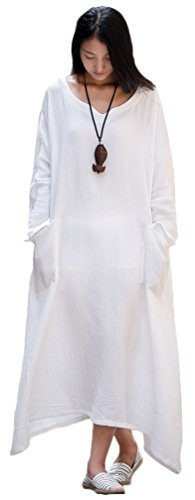 Linen Long Dress - Soojun Women's Casual Cotton Linen Long Dress with Batwing Sleeve ,White,One Size