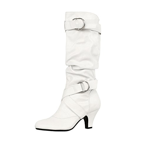 Wear Fashion Boots (Guilty Shoes Winter Mid Calf - Strappy Slouchy Buckle - Low Kitten Heel Boots, 39 White PU, 8.5)
