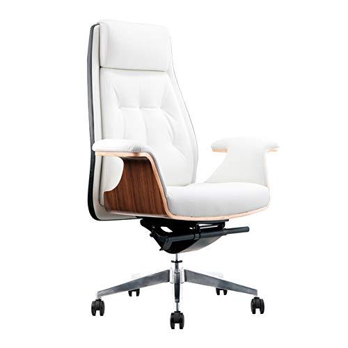 Silla de oficina escritorio Silla Ergonomica Silla de Oficina ergonomica,Reposabrazos de cuero reclinable para el hogar Pies de aluminio Reposabrazos fijos-White
