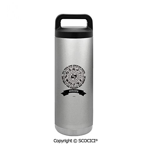 SCOCICI Thermos Water Bottle Leak-Proof Double Walled Vacuum Insulated All Men Are Created Equal But Only The Craziest Are Born As Pisces Cup Large Size 18 Oz (510 ml) For Any Outdoor Activities ()