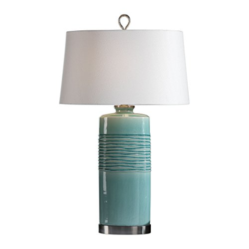 Distressed Aqua Turquoise Blue Green Table Lamp | Cylinder Stripes Ribbed