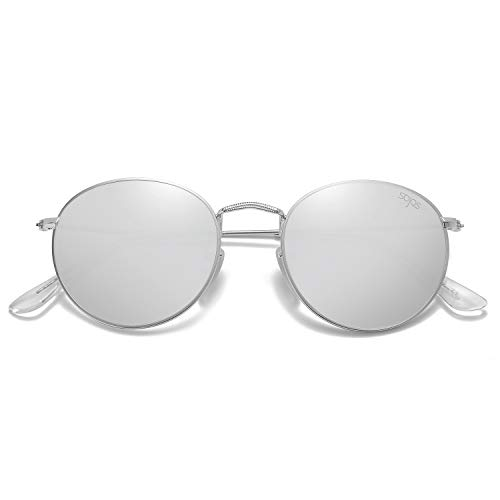 SOJOS Small Round Polarized Sunglasses Mirrored Lens Unisex Glasses SJ1014 3447 with Silver Frame/Silver Mirrored Polarized Lens