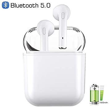 Wireless Earbuds Bluetooth 5.0 True Wireless Earbuds Wireless Headphones with Microphone Sport Bluetooth Wireless Earphone with Charging Case White