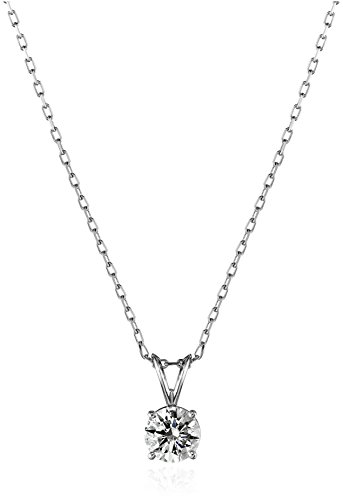 14k White Gold Round-Cut Diamond Solitaire Pendant Necklace (1cttw, K-L Color, I1-I2 Clarity), 18