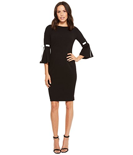 Calvin Klein Women's Bell Sleeve With Tie Sleeve Detail CD8C14LD Black/White 10 by Calvin Klein