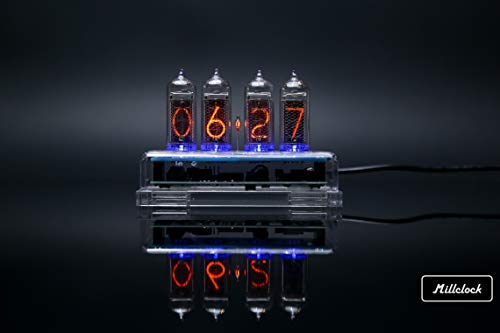 Millclock IN-14 Nixie Tube Clock Assembled Acrylic Enclosure and Adapter 4-Tubes