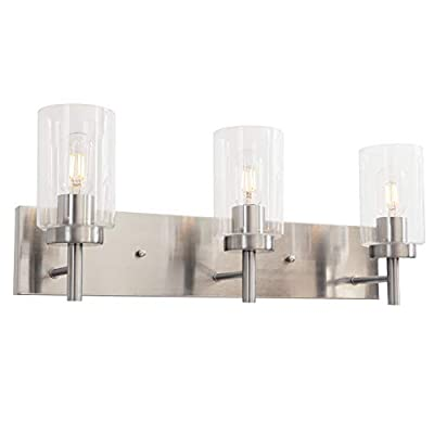 VINLUZ Vanity Bathroom Light Fixture Brushed Nickel 3 Lights Modern Wall Sconce Lighting with Clear Glass Shade Vintage Rustic Porch Wall Lamp Bedroom Living Room - ☀Industrial Design: Mount this classy, elegant wall light fixture brings a mid-century modern look to your home or office. Ideal for top side of a mirror or bed, a doorway or entryway, lining an office or hotel hallway, or under a covered porch or patio ☀Easy Installation: This bath vanity fixtures can be mounted in an up or down direction. Include all mounting hardware for quick and easy installation. Compatible with most junction boxes(must be hardwired) ☀Wall Sconces Features: It features no switch or cord on the light. It's designed to connect directly to the reserved wire, you can decide the switch location on the wal. Fully dimmable when used with a dimmable bulb and compatible dimmer to create the perfect atmosphere - bathroom-lights, bathroom-fixtures-hardware, bathroom - 31Ed lgZcJL. SS400  -