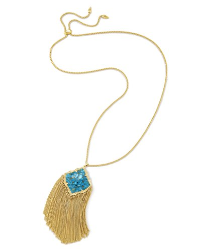 Kendra Scott Kingston Pendant Necklace in Gold Plated and Bronze Veined Turquoise Color Magnasite Turquoise Bronze