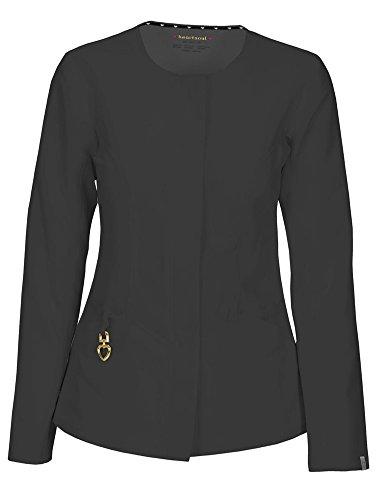 HeartSoul Scrubs Women's Head Over Heels Warm My Heart Button Front Jacket, Pewter Small -