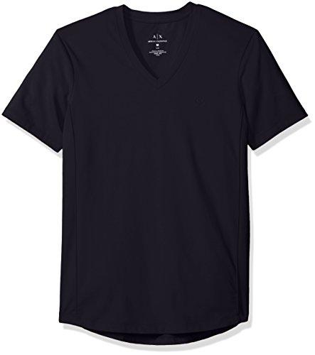 A|X Armani Exchange Men's Cotton Spandex V Neck Front Chest Logo Side Piping, Navy, Medium