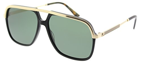 Gucci GG0200S 001 Black / Gold GG0200S Square Aviator Sunglasses Lens - Men Aviator Sunglasses S