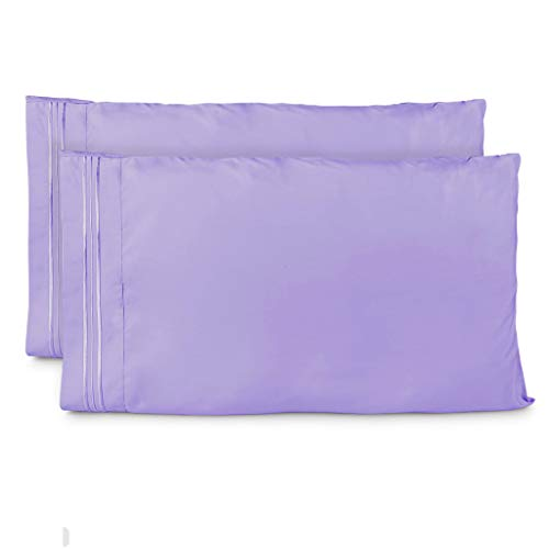 Cosy House Collection Pillowcases King Size - Lavender Luxury Pillow Case Set of 2 - Premium Super Soft Hotel Quality Pillow Protector Cover - Cool & Wrinkle Free - Hypoallergenic