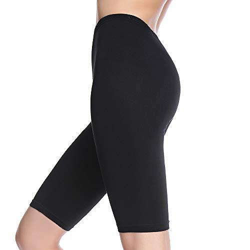 MANCYFIT Slip Shorts for Women Short Leggings Mid Thigh Legging Plus Size Undershorts Flat Black Large