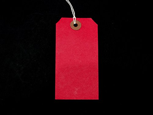 Ivy Red Strung Tags 108mm x 54mm Luggage Labels Tags Tickets Tie On String Labels by Ivy ()
