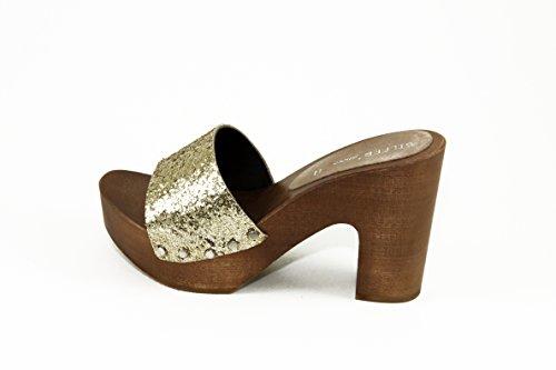 SilferShoes - Zoccolo in vero legno e vera pelle con glitter gold