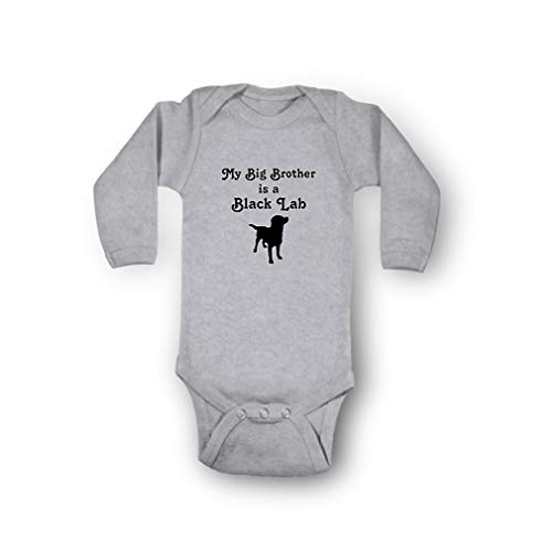 My Big Brother is A Black Lab Envelope Neck Boys-Girls Long Sleeve Cotton Baby Bodysuit One Piece - Oxford Gray, 6 Months (My Black Lab)