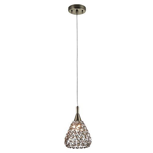 Home Decorators Collection 1-Light Antique Bronze with Cognac Crystal Shade Mini Pendant