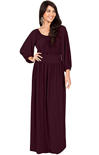(KOH KOH Petite Womens Long Sleeve Sleeves Vintage Peasant Empire Waist Fall Loose Flowy Fall Winter Casual Maternity Abaya Gown Gowns Maxi Dress Dresses, Maroon Wine Red 3XL 22-24)