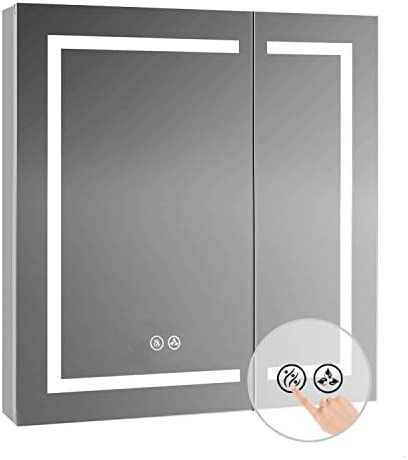 Recessed or Surface LED Mirror Medicine Cabinet with Defogger 30×32