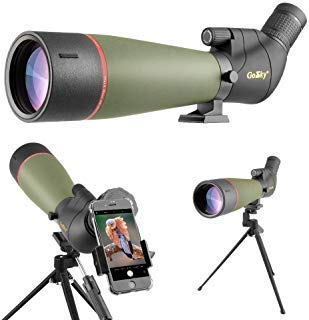 Gosky 2019 Updated 20-60x80 Spotting Scope with Tripod, Carrying Bag and Smartphone Adapter - BAK4 Angled Telescope - Newest Waterproof Scope for Target Shooting Hunting Bird Watching Wildlife Scenery by Gosky