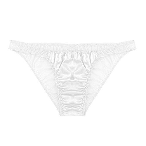 MSemis Men's Shiny Satin Sissy Pouch Panties Underwear Mesh See Through Back Crossdress White Large (Waist 30.0